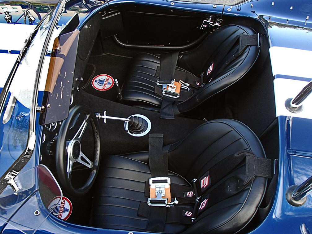 cockpit shot (from driver side) of Indigo Blue/Arctic White stripes Superformance 427SC Shelby classic Cobra for sale by owner, SPO1983