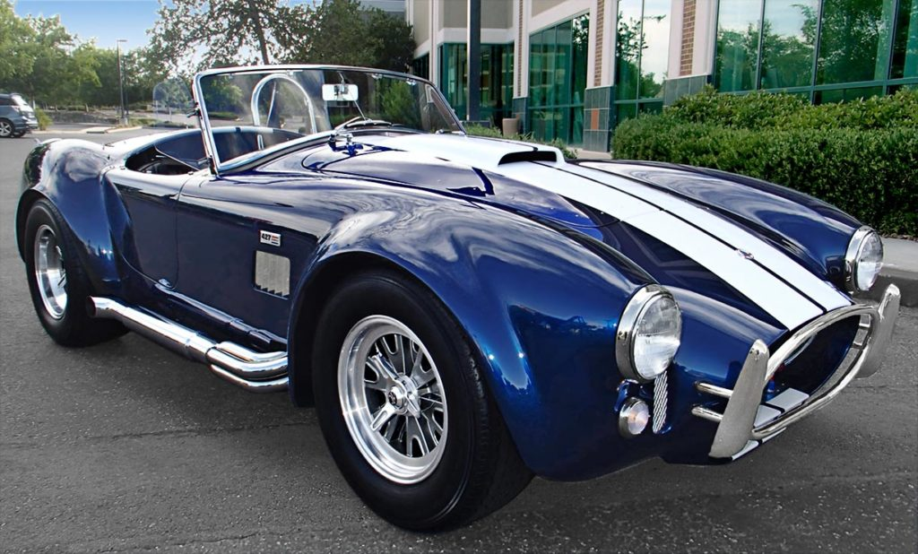 3/4-frontal shot (passenger side) of Indigo Blue/Arctic White stripes Superformance 427SC Shelby classic Cobra for sale by owner, SPO1983