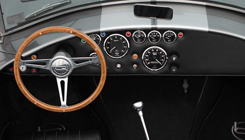 dash/instrument panel of Sterling Grey/silver stripes Backdraft Racing 427SC Shelby Cobra for sale