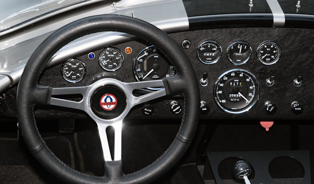 dashboard shot (driver side) of Titanium Superformance 427SC Shelby classic Cobra for sale, SPO2454