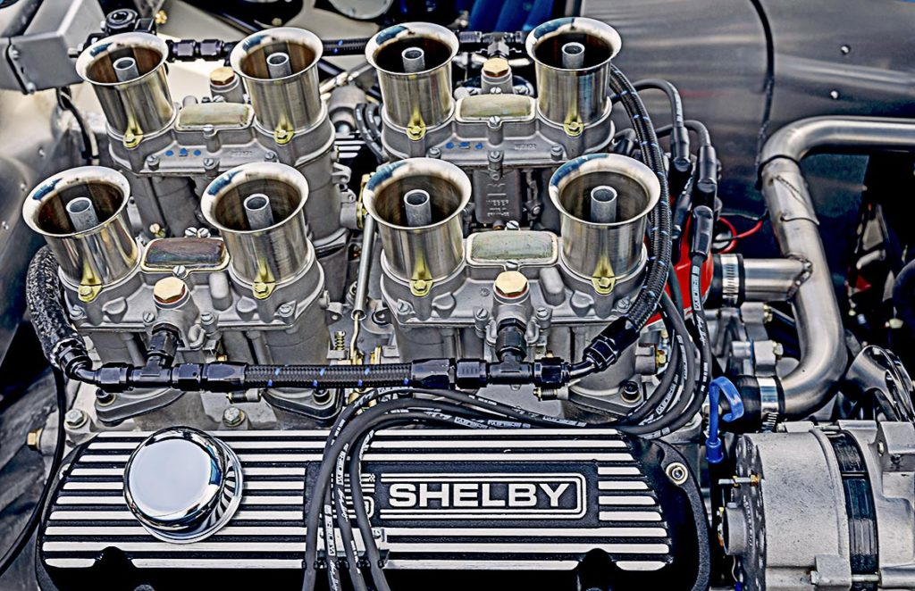 small-block engine photo#2 (from RHS) of Guardsman Blue classic Shelby 289FIA Bondurant Edition Cobra vehicle for sale, CSX2771