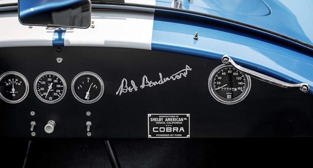 dashboard shot (RHS) of Guardsman Blue classic Shelby 289FIA Bondurant Edition Cobra vehicle for sale, CSX2771