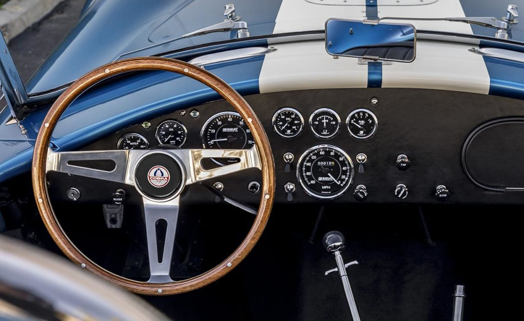 closeup photo of instrument panel on this Guardsman Blue Shelby 427SC Cobra, CSX6132