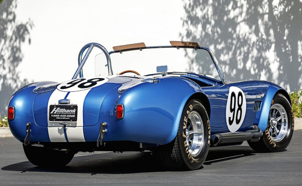 3/4-rear (passenger side) view of this Guardsman Blue Shelby 427SC Cobra for sale, CSX6132