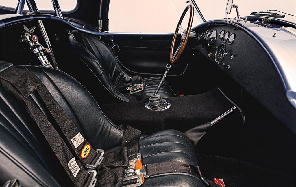 cockpit shot (from passenger side) of Portofino Blue Superformance Shelby 427SC Cobra for sale, SPO0545