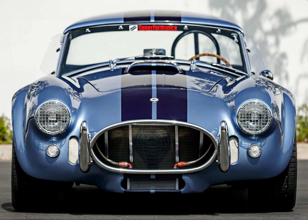 head-on frontal view (with hard top) of Portofino Blue Superformance Shelby 427SC Cobra for sale, SPO0545