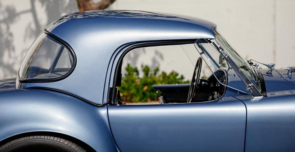 closeup shot of Superformance hardtop of blue Superformance Shelby 427SC Cobra for sale, SPO0545