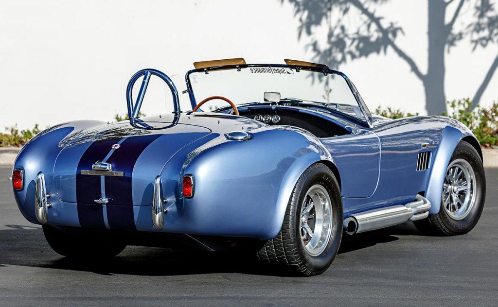 3/4-rearview (passenger side) of Portofino Blue Superformance 427SC Cobra for sale, SPO0545