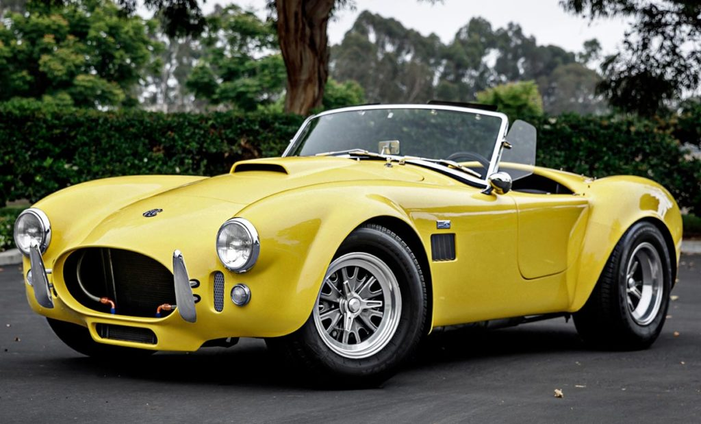 3/4-frontal shot (driver side) of Jasmine Yellow Superformance 427SC Shelby Roadster (Street Version) Cobra vehicle for sale, SPO1076