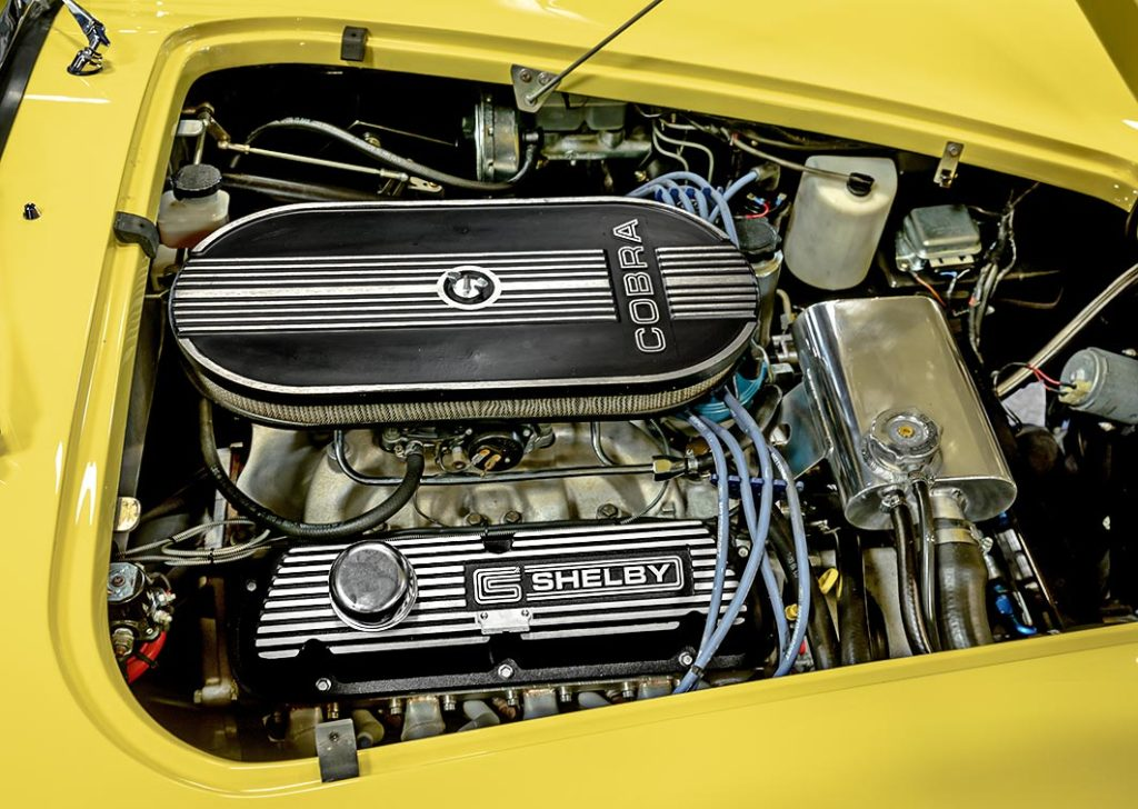 engine shot of Ford 351W [delivers 400hp [installed and tuned by Dennis Olthoff at Olthoff Racing] of Jasmine Yellow Superformance 427SC Shelby Roadster (Street Version) Cobra vehicle for sale, SPO1076