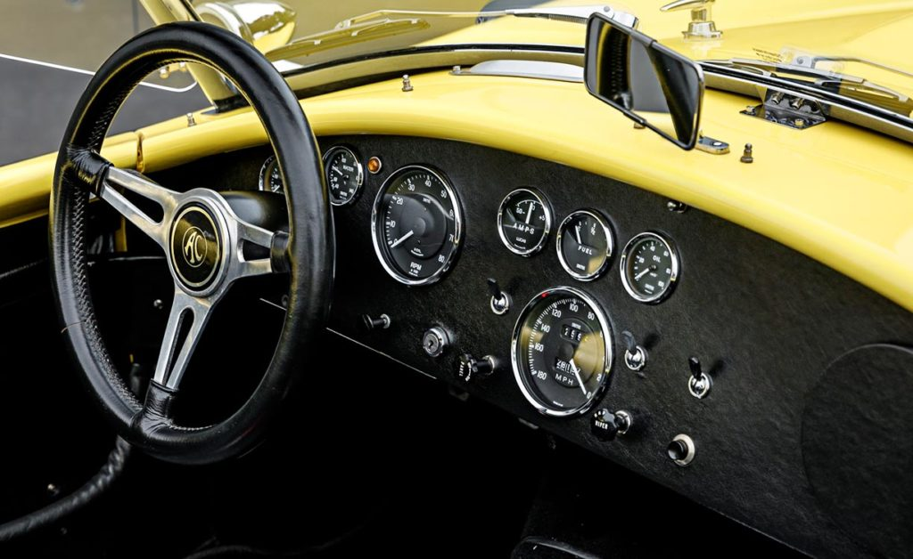 shot of entire instrument panel on Jasmine Yellow Superformance 427SC Shelby Roadster (Street Version) Cobra vehicle for sale, SPO1076