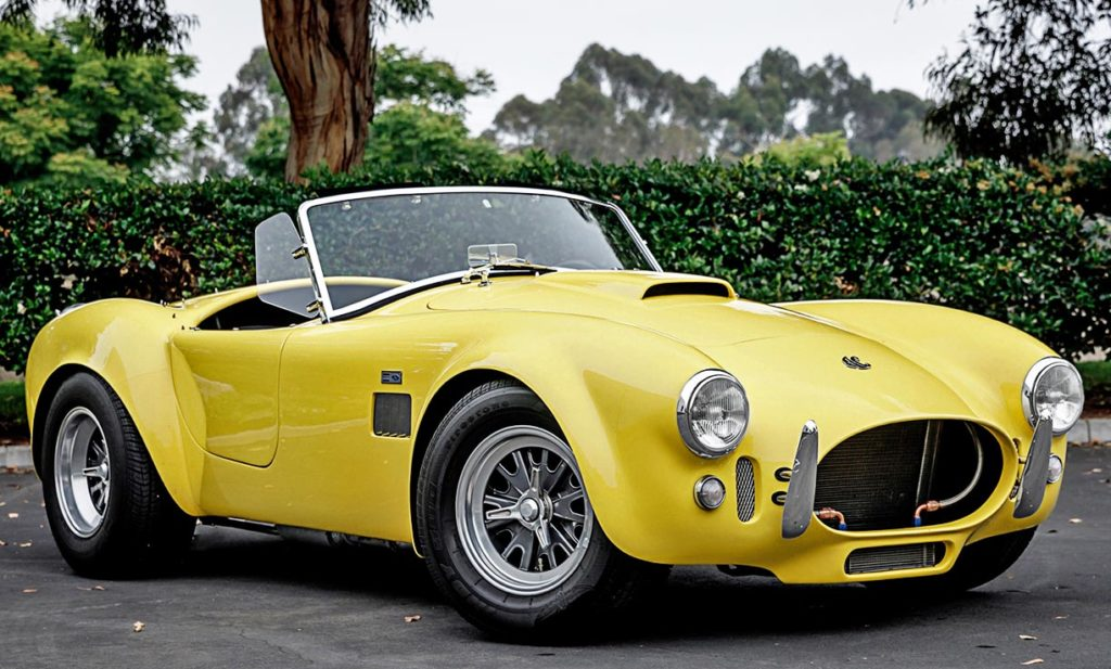 3/4-frontal shot (passenger side) of Jasmine Yellow Superformance 427SC Shelby Roadster (Street Version) Cobra vehicle for sale, SPO1076