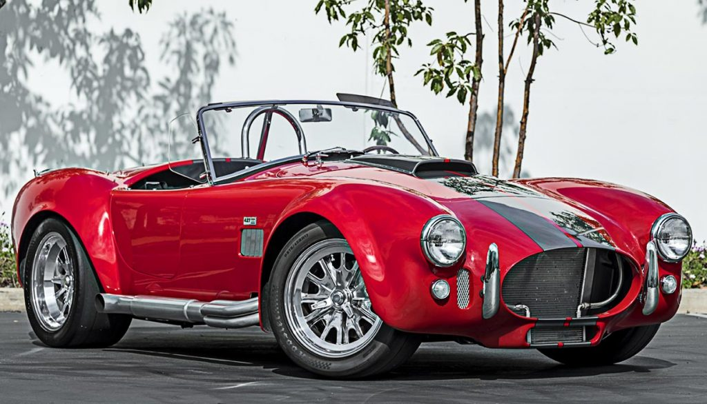 3/4-frontal view of red Superformance 427 Cobra for sale by Hillbank Motors, SPO2875