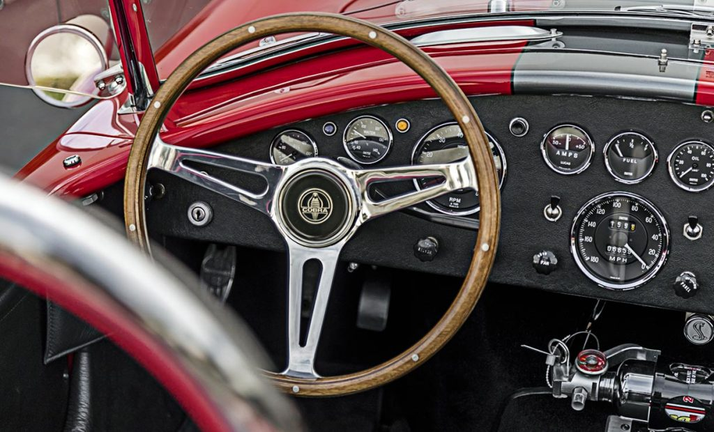 closeup dashboard shot of red Superformance 427 Cobra for sale by Hillbank Motors, SPO2875