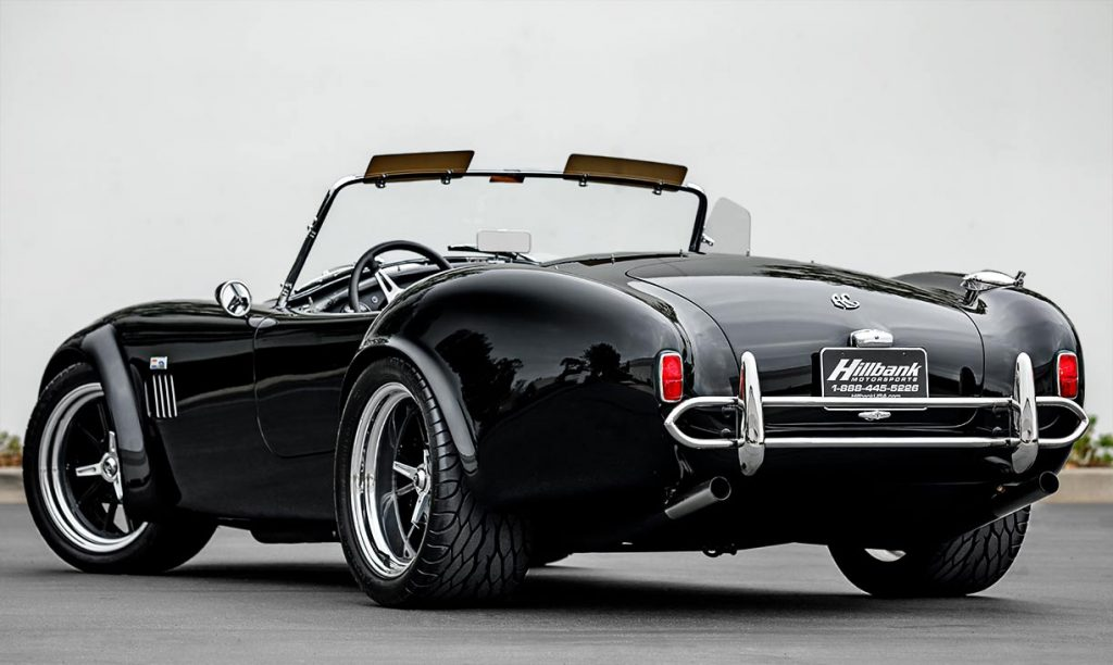 3/4-rear/driver-side image of black Superformance 427SC Cobra for sale, SPO2980