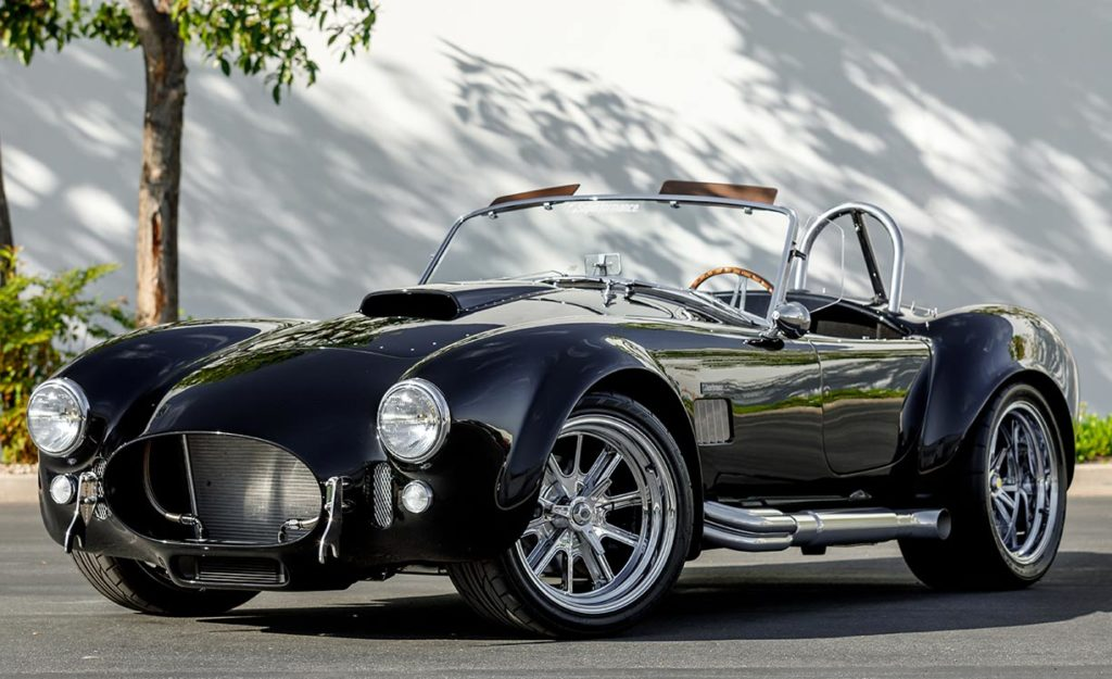 3/4-frontal shot (driver side) of Onyx Black Superformance 427SC Shelby Cobra vehicle for sale, SPO3357