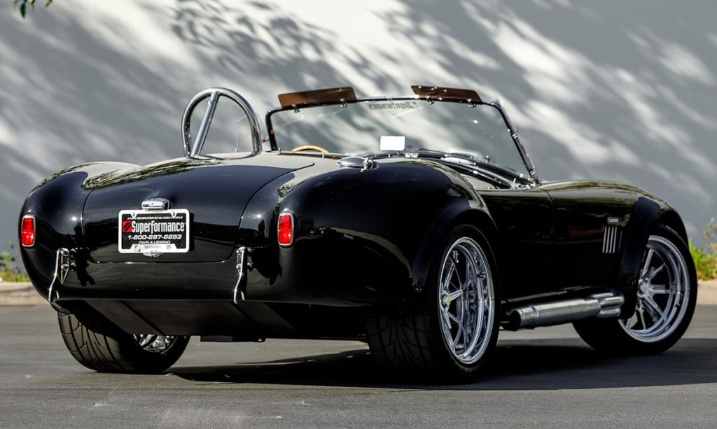 3/4-rear shot (passenger side) of Onyx Black Superformance 427SC Shelby Cobra vehicle for sale, SPO3357