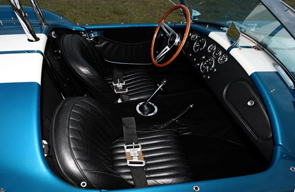 cockpit shot (from passenger side) of Guardsman Blue E.R.A. 427SC Cobra for sale, ERA#528
