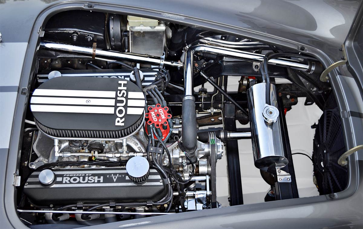 Roush engine photo#2 of gray Backdraft Racing replica of 427SC Shelby classic Cobra, for sale by owner, BDR0789