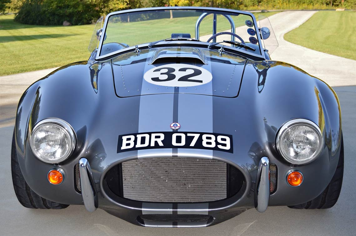 head-on frontal shot of gray Backdraft Racing replica of 427SC Shelby classic Cobra, for sale by owner, BDR0789