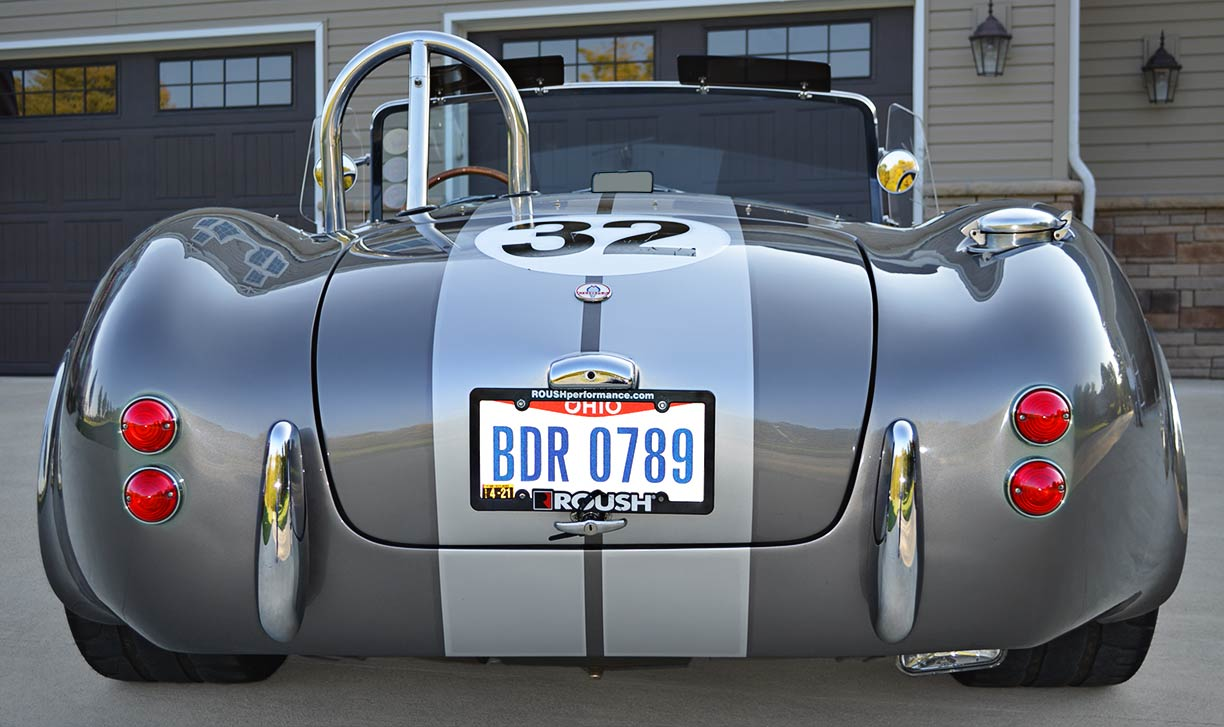head-on rear shot of gray Backdraft Racing replica of 427SC Shelby classic Cobra, for sale by owner, BDR0789