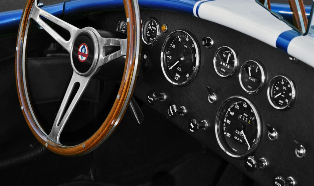 dashboard and Smiths gauges shot of Guardsman Blue Superformance 427SC Cobra for sale, SPO2644