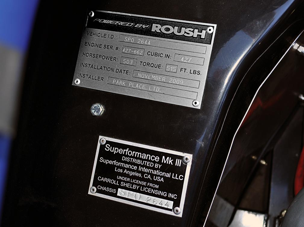 Roush and Superformance plaques under the hood of Guardsman Blue Superformance 427SC Cobra for sale, SPO2644