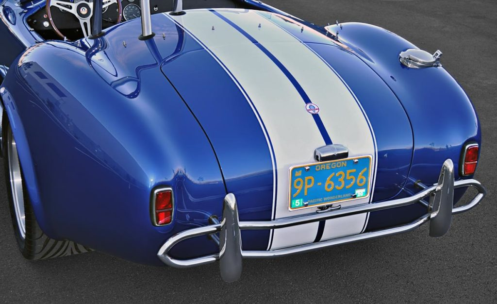 rear-quarter (driver side) shot of Guardsman Blue Superformance 427SC Cobra for sale by owner, SPO2644