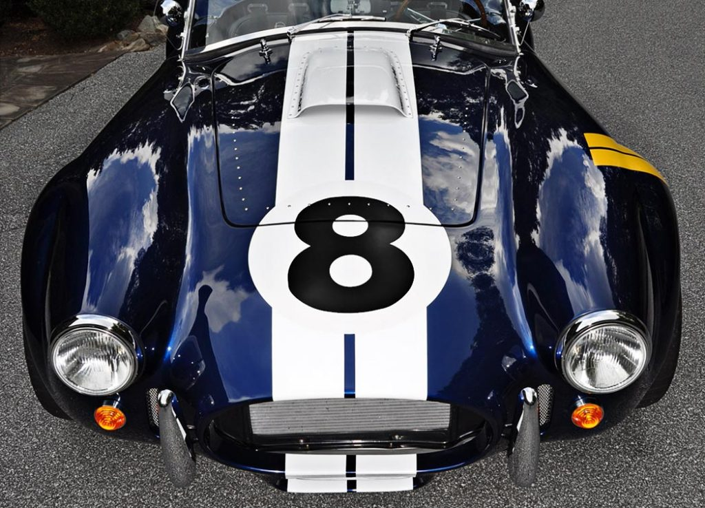 head-on frontal shot of Indigo Blue Backdraft Racing 427SC classic Shelby Cobra for sale, BDR1199