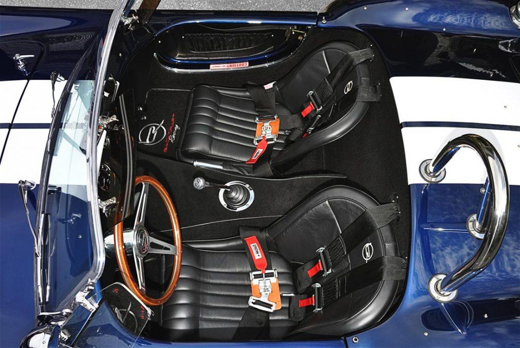 cockpit shot of Indigo Blue Backdraft Racing 427SC classic Shelby Cobra for sale, BDR1199