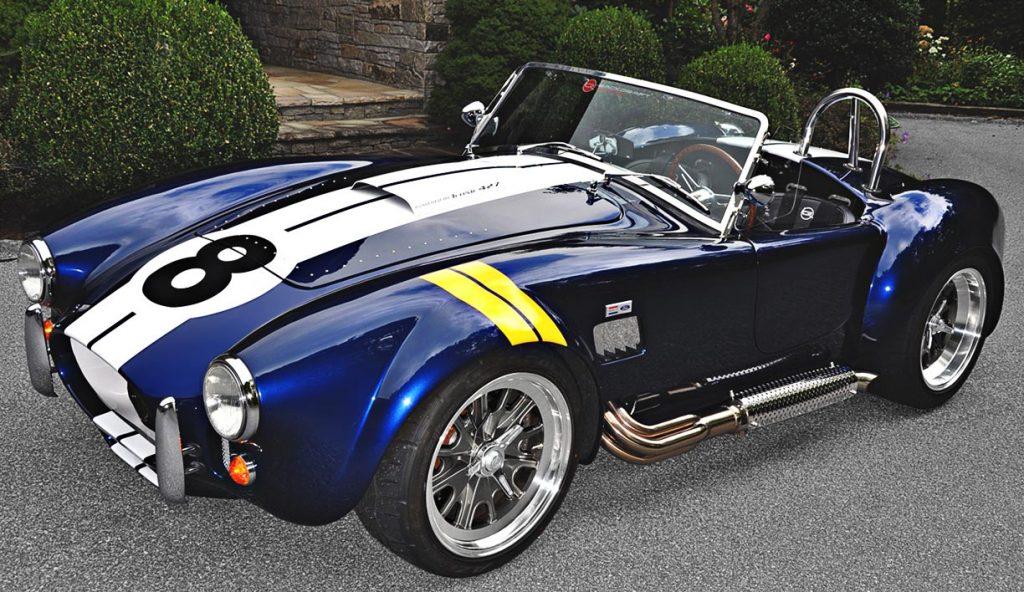 3/4-frontal shot (driver side) of Indigo Blue Backdraft Racing 427SC classic Shelby Cobra for sale, BDR1199