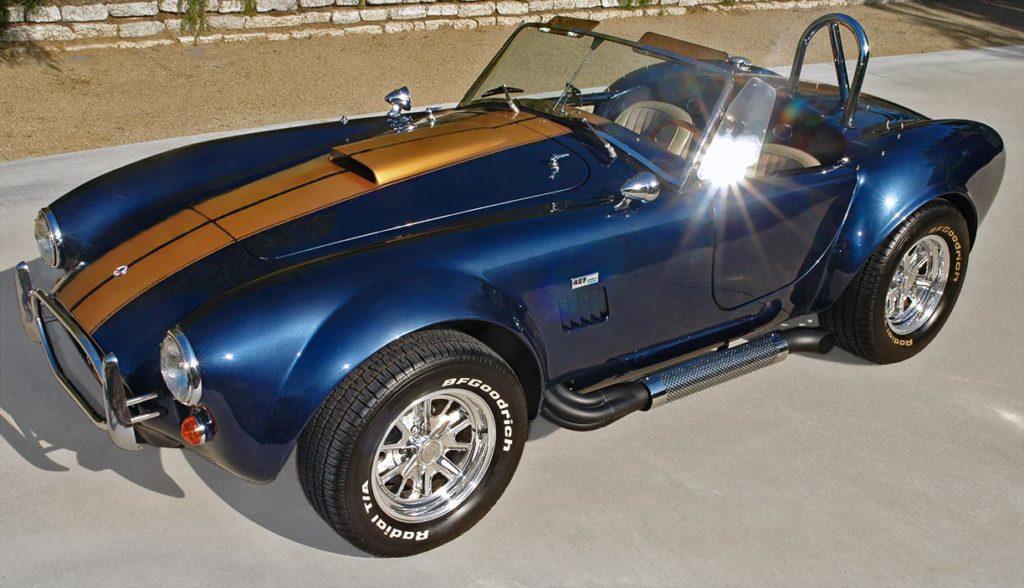 3/4-frontal shot of Corinthian Blue Everett-Morrison 427SC Cobra for sale by owner