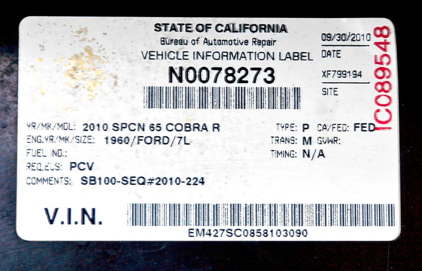 closeup shot of coveted California SB-100 registration sticker for this Corinthian Blue Everett-Morrison 427SC Cobra for sale by owner