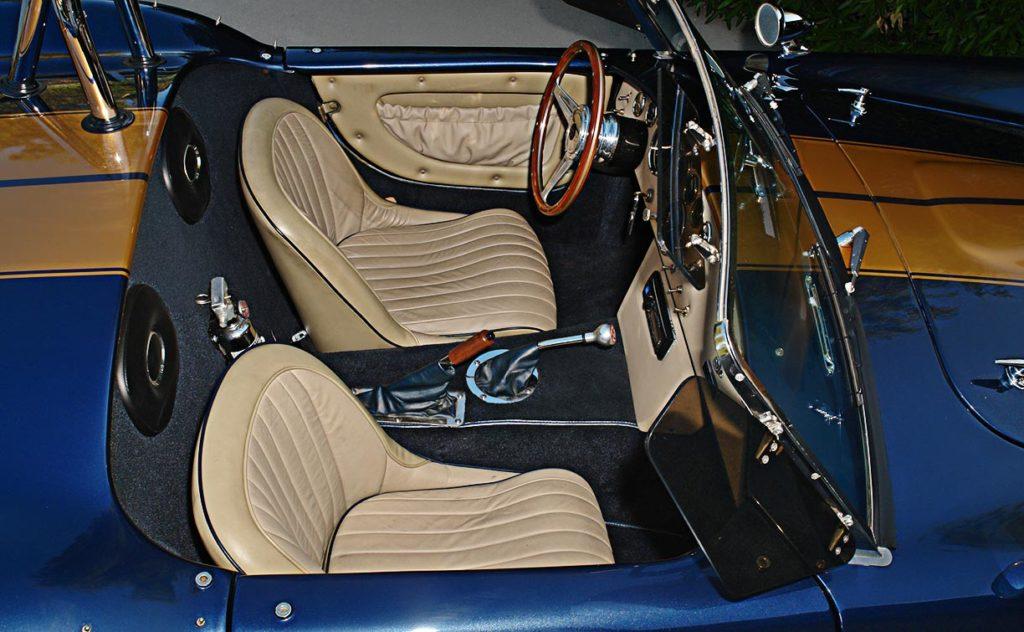 cockpit shot (from passenger side) of Corinthian Blue Everett-Morrison 427SC Cobra for sale by owner