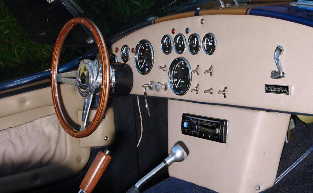 dashboard shot (from passenger side) of Corinthian Blue Everett-Morrison 427SC Cobra for sale by owner
