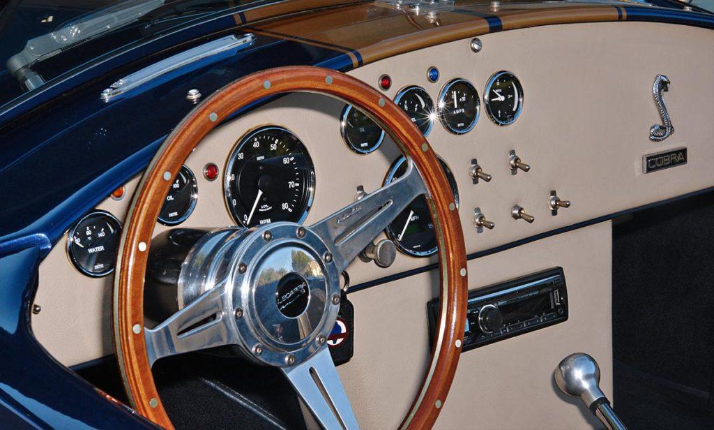 cockpit shot (from driver side) of Corinthian Blue Everett-Morrison 427SC Cobra for sale by owner