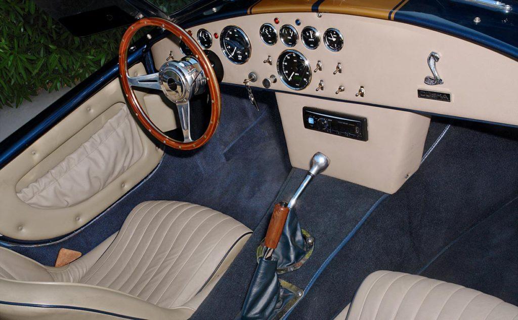 cockpit shot (from passenger side, alternate angle of shot) of Corinthian Blue Everett-Morrison 427SC Cobra for sale by owner