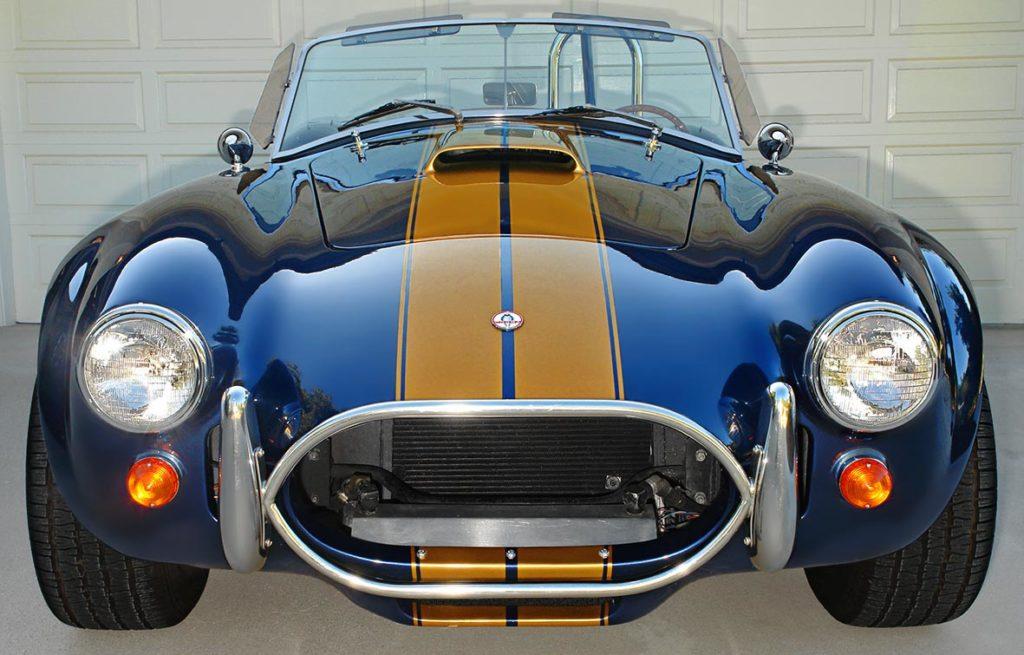head-on frontal shot of Corinthian Blue Everett-Morrison 427SC Cobra for sale by owner