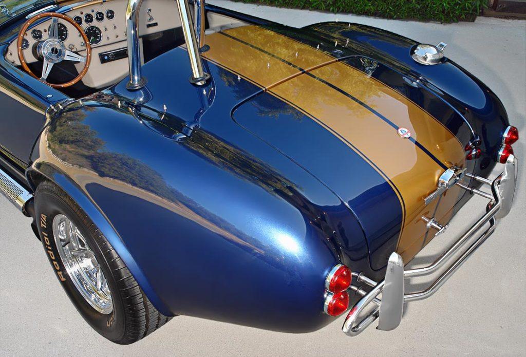 rear quarter shot (driver side) of Corinthian Blue Everett-Morrison 427SC Cobra for sale by owner