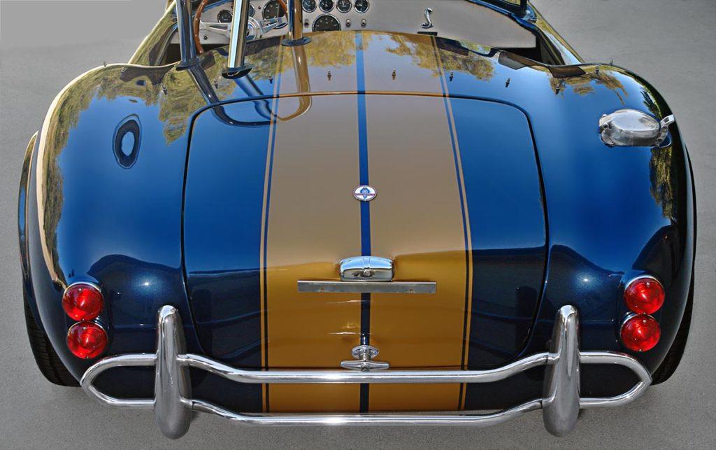 head-on rear shot of Corinthian Blue Everett-Morrison 427SC Cobra for sale by owner