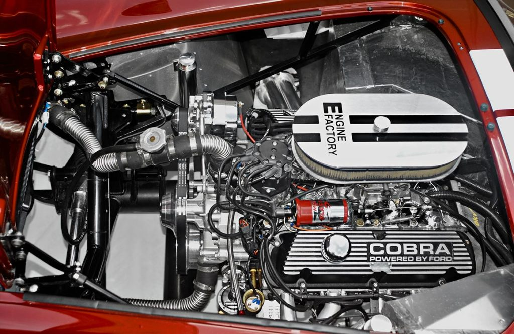 engine photo of Ruby Red Metallic Factory Five Racing pre-owned 427SC Mk4 Shelby Cobra classic vehicle for sale