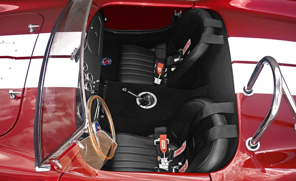 cockpit photo of Ruby Red Metallic Factory Five Racing pre-owned 427SC Mk4 Shelby Cobra classic vehicle for sale