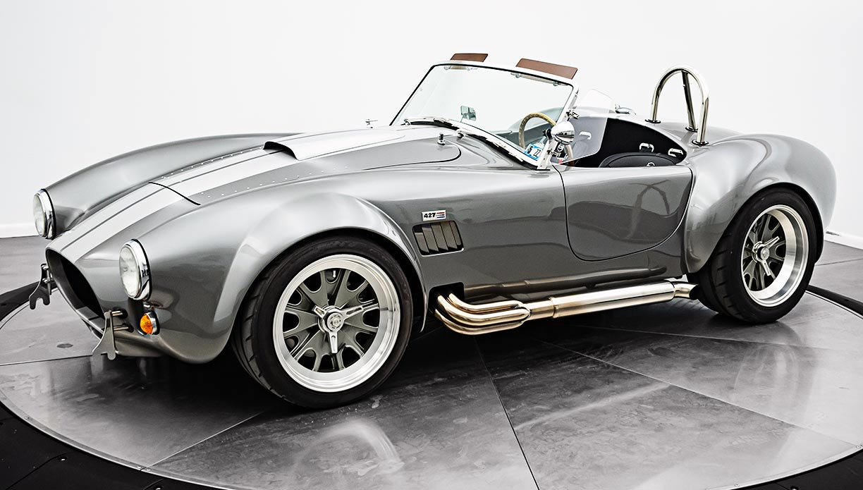 3/4-frontal (driver side) photo of Dark Grey 427SC Shelby classic Backdraft Racing Cobra (BDR1562) for sale