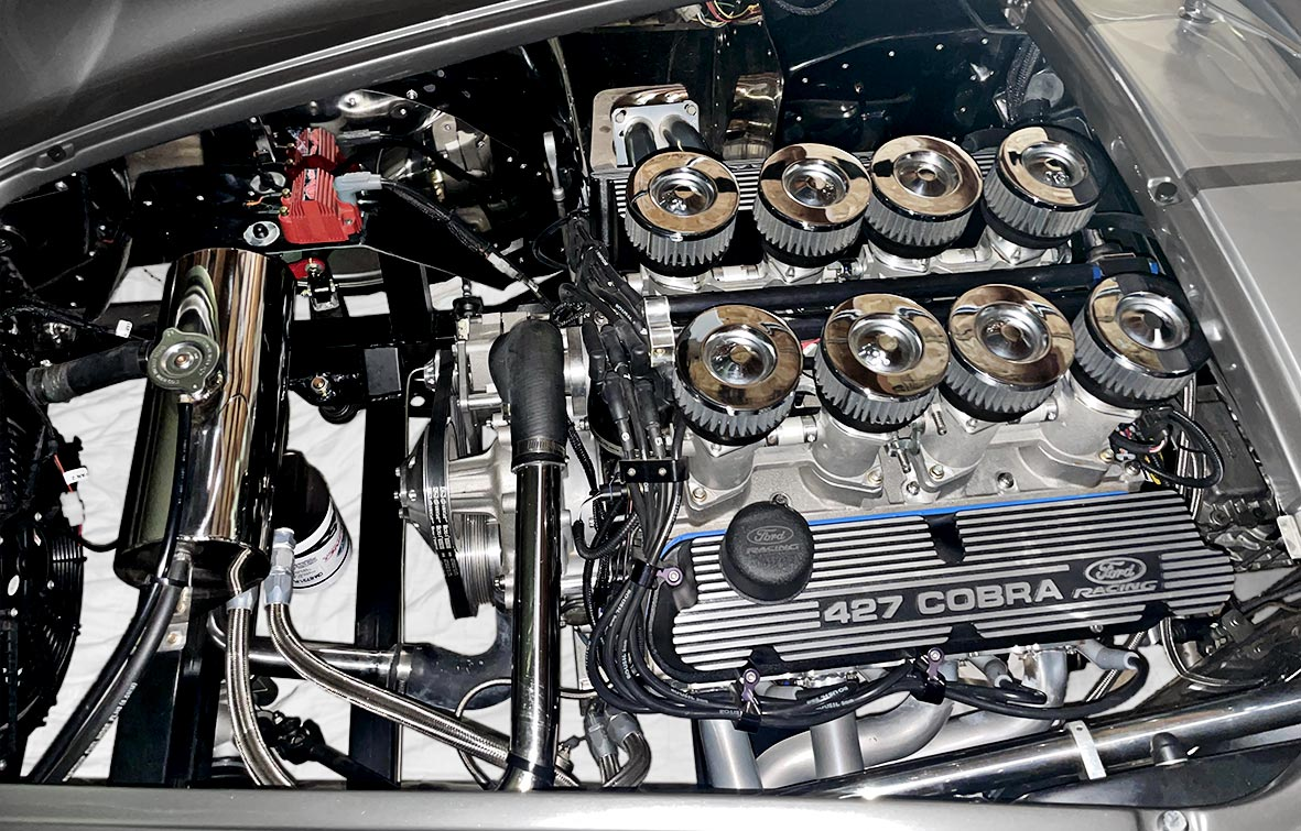 Roush 427IR engine photo (from driver side) of Dark Grey 427SC Shelby classic Backdraft Racing Cobra (BDR1562) for sale