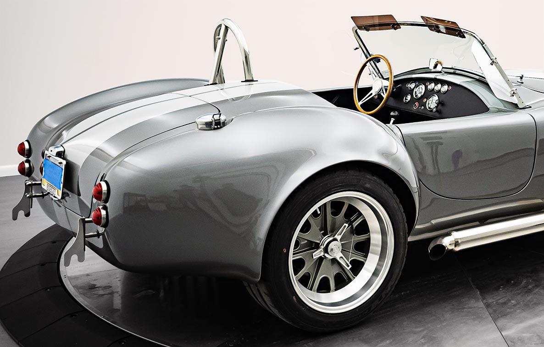 rear-quarter shot (passenger side) of Dark Grey 427SC Shelby classic Backdraft Racing Cobra (BDR1562) for sale