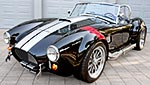 3/4-frontal thumbnail image of Onyx Black/silver stripes 427SC Shelby classic Backdraft Racing (BDR#664) Cobra for sale by owner