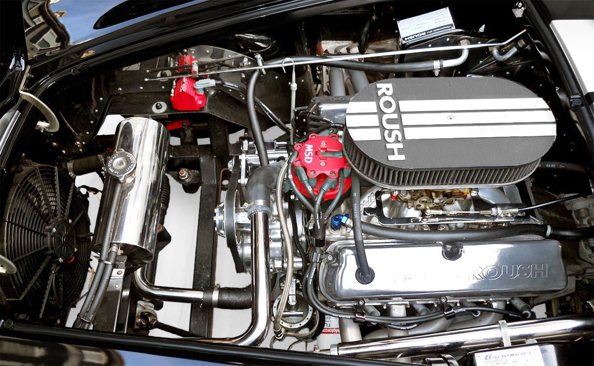 Roush engine photo (from driver side) in Onyx Black/silver stripes 427SC Shelby classic Backdraft Racing (BDR#664) Cobra for sale by owner