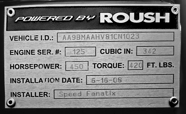Roush engine plaque in Onyx Black/silver stripes 427SC Shelby classic Backdraft Racing (BDR#664) Cobra for sale by owner