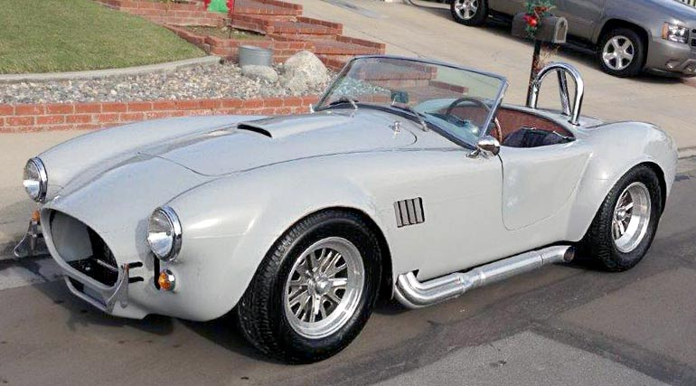 3/4-frontal shot of gray-primered Shell Valley 427SC Shelby classic Cobra for sale by owner