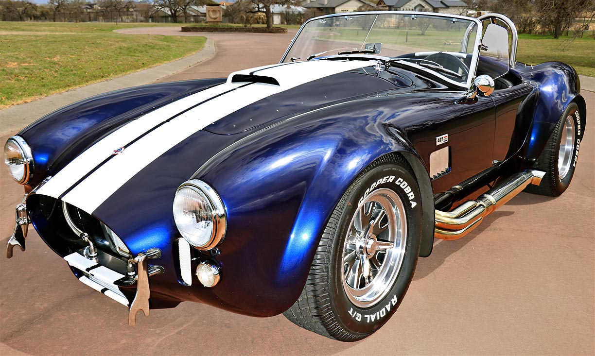 3/4-frontal (driver side) shot of Shelby classic Marlin Blue 427SC Superformance MkIII Cobra for sale by owner, SPO1470